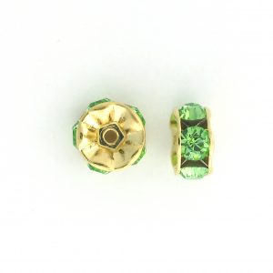 3608 - 8mm Swarovski Rhinestone Gold Plated - Peridot