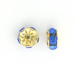 3607 - 7mm Swarovski Rhinestone Gold Plated - Sapphire