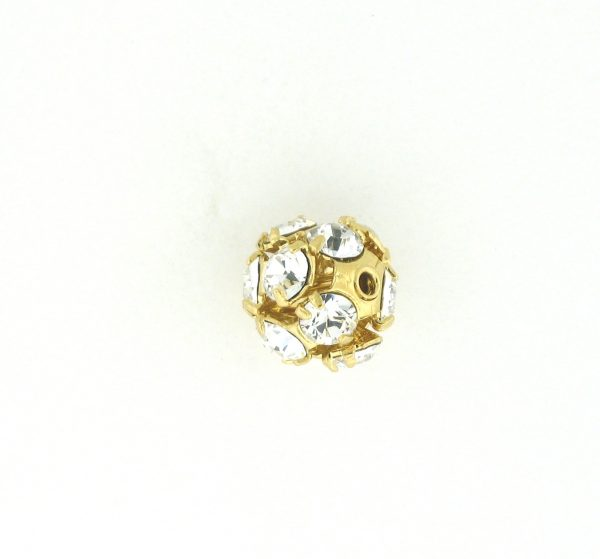 # 3708 - 8mm Gold Plated Rhinestone Ball - Crystal