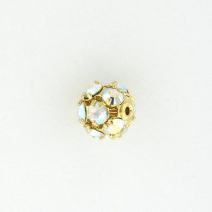 # 3710 - 10mm Swarovski Gold Plated Rhinestone Ball - Crystal AB