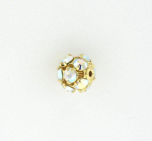 # 3710 - 10mm Swarovski Gold Plated Rhinestone Ball - Crystal AB