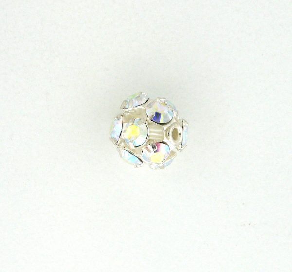 # 3710 - 10mm Swarovski Rhodium Plated Rhinestone Ball - Crystal AB