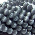 "9506 - 6mm Round Smooth Cat's Eye (16"" Strand) - Black"