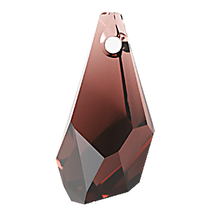 6015 - 17mm Swarovski Polygon Drop Pendant - Burgundy