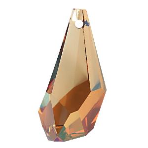 6015 - 17mm Swarovski Polygon Drop Pendant - Crystal Copper