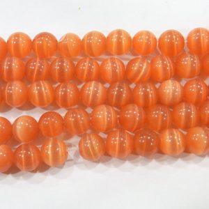 "9507 - 8mm Round Smooth Cat's Eye (16"" Strand) - Orange"