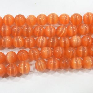 "9505 - 4mm Round Smooth Cat's Eye (16"" Strand) - Orange"