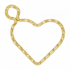 12211- 14K Gold Filled 15.5mm Sparkle Wire Heart Charm