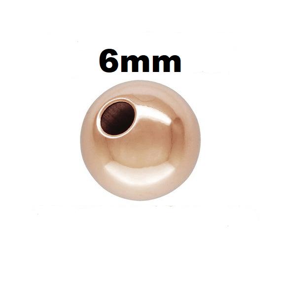 #6RG - 6mm Rose Gold Filled Plain Round Bead