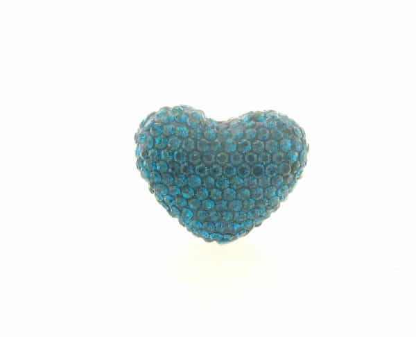4222 -19x24mm Shamballa Heart - Blue Zircon