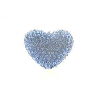 4222 -19x24mm Shamballa Heart - Light Sapphire