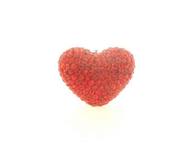 4222 -19x24mm Shamballa Heart - Light Siam