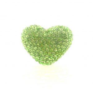 4222 -19x24mm Shamballa Heart - Peridot