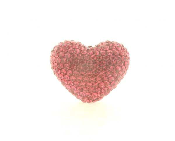 4222 -19x24mm Shamballa Heart - Rose