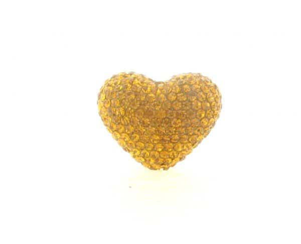 4222 -19x24mm Shamballa Heart - Topaz