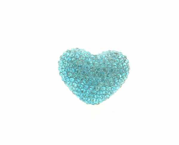 4222 -19x24mm Shamballa Heart - Aquamarine