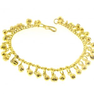 Gold Finish Jingling Anklet 10""