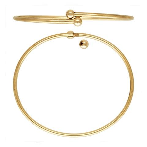 "12212 - 14K Gold Filled 7"" Flex Bangle (2.3mm) w/Threaded Balls"