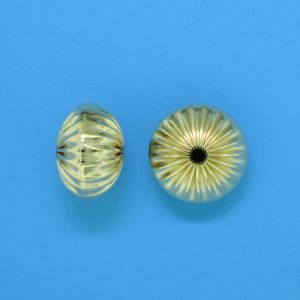 84 - 9x12.5mm Gold Filled Straight Corrugated Round Saucer Bead (Rondelle)