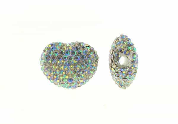 4226 - 16x18mm Shamballa Side Hole Heart - Crystal AB