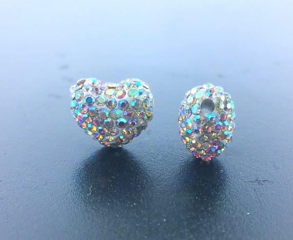 4225 - 12x14mm Shamballa Side Hole Heart - Crystal