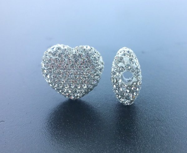 4225 - 12x14mm Shamballa Side Hole Heart - Crystal