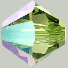 5301/5328 - 6mm Swarovski Bicone Bead - Peridot Shimmer