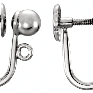 1548 - Sterling Silver Screw Back Clip-On Earring Findings with Ball & Loop
