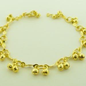 "P-133 - Gold Finish Jingling Anklet 10"""