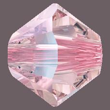 5301/5328 - 3mm Swarovski Bicone Crystal Bead - Light Rose Shimmer