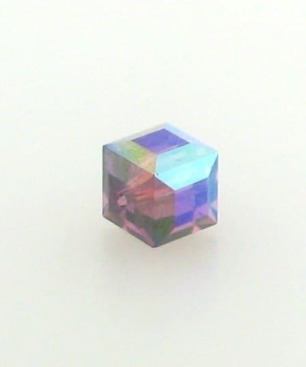 5601 - 4mm Swarovski Cube Crystal - Amethyst AB