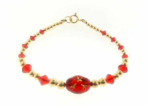 12075 - 14K Gold filled Beads and Swarovski Crystal - Bracelet