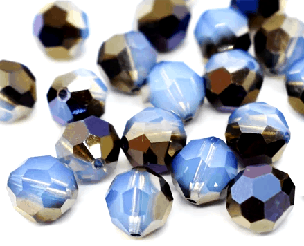 5000 - 8mm Swarovski Faceted Round Bead - White Opal Sky Blue