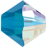 5301/5328 - 8mm Swarovski Bicone Crystal Bead - Caribbean Blue Opal AB