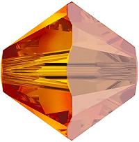 5301/5328 - 6mm Swarovski Bicone Crystal Bead - Fire Opal Satin