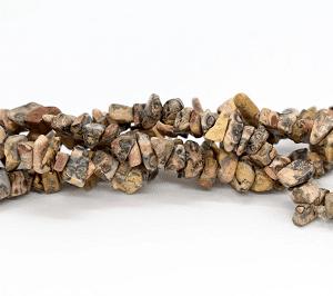 "Leopard Skin Jasper Semi Precious Stone Chip Beads 36"" strand"